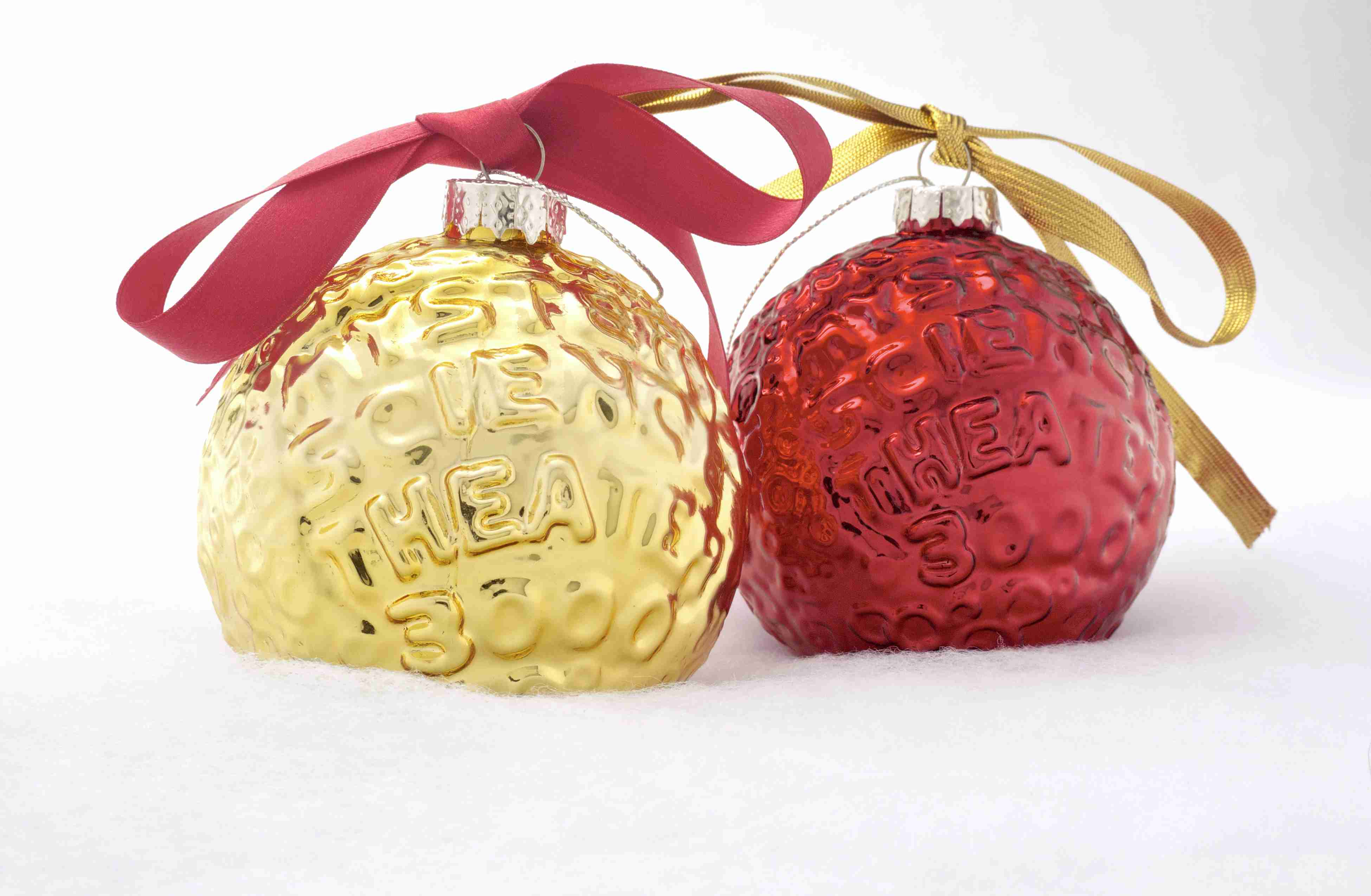 Set Of Two MST3K Moon Ornaments (Gold And Red)